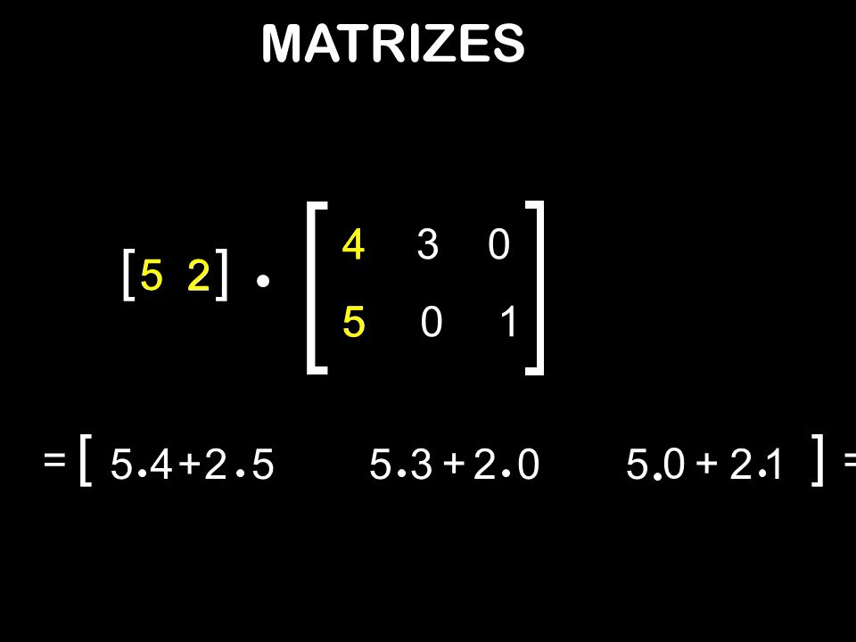 MATRIZES 4 4 3 [ ] 5 5 2 2 5 5 1 [ ] = 5 4 + 2 5 5 3 + 2 5 + 2 1 =